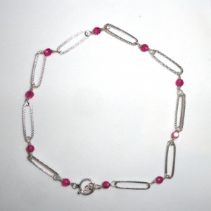 Sterling Silver and Crystal Ankle Bracelet Image